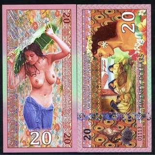 Pacific States Melanesia $20 Polynesia girl UNC