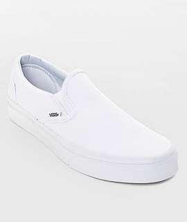 True White Vans Slip On