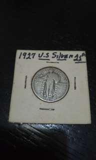 美金 1927年 1/4元 純銀