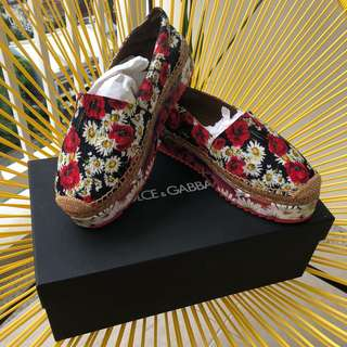 Authentic Dolce & Gabbana Broccato Stamp Espadrilles