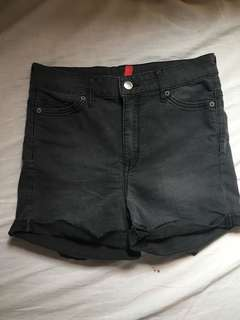 H&M black denim shorts