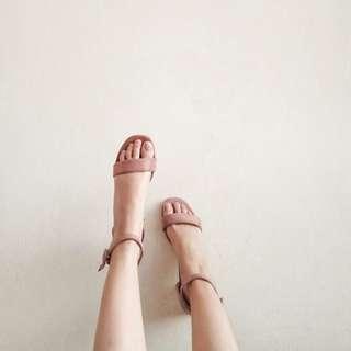 (NEW) Suede Strap Heels, Size 39