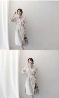 Koream style shirt dress (free size, fit XS-M)