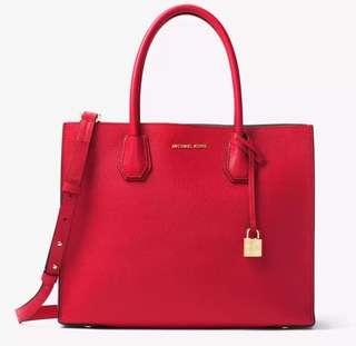 Michael Kors Studio Mercer Large Leather Tote Bag (Cherry)