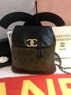 Vintage Chanel黑色x軍綠色拼皮大金扣背包backpack 32x29x8cm