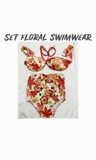 Orange Floral Swimsuit (Highwaist)