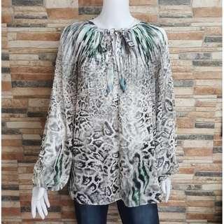 B JENNIFER LOPEZ Women White Printed Long Bishop Sleeve Plus Size Blouse 2XL