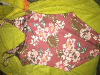 One piece floral in pink and black