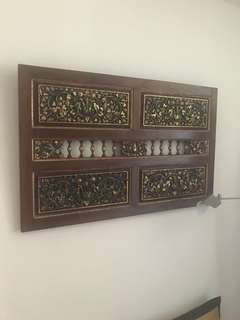 Antique wall hanging peranakan window floral carvings