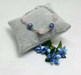 Rose Quartz & Blue Agate Bracelet