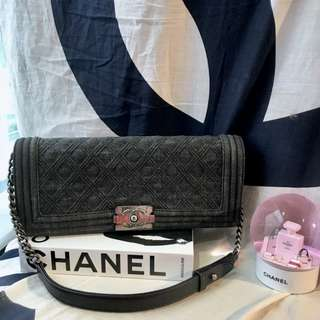 美品Chanel Boy牛仔菱格仿舊銀鍊Shoulder bag/Clutch 31x14x5cm