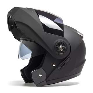 Matte Black Full Face Flip Up Motorcycle Bike Modular Helmet with Double Inner Lens