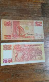 Singapore Old Notes $2x 2pcs