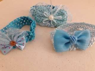 🚚 粉藍寵物蝴蝶結項圈
