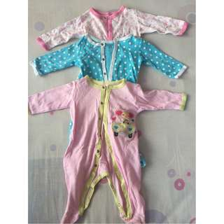 Baby Girl Sleepsuits 3 pack