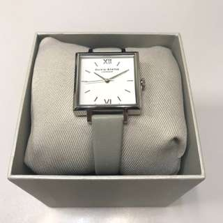 *NEW* Olivia Burton Big Square Dial Watch in Grey