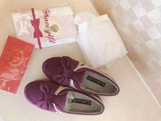 🚚 Grace gift 蝴蝶結紫色休閒鞋