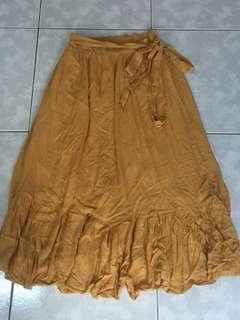 🚚 綁帶鬆緊長裙-薑黃