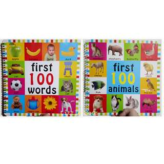 2 Big Books Set First 100 Words and First 100 Animals
