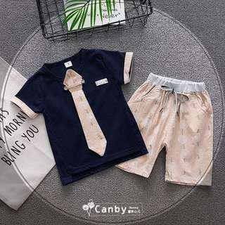 ❤️Ready stock❤️ Short-sleeved Necktie Shirt & Pants two-pieces Set