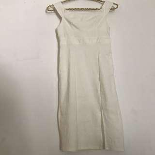 White slit sabrina dress