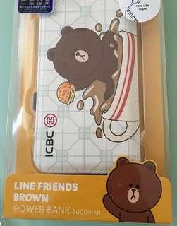 Line friends Brown powerbank 🔋手機充電器8000 mah 一年保養power bank
