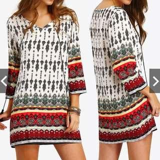 Women's Long Sleeve Floral Print Loose Short Mini Shirt Dress Plus Size
