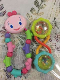 Preloved Bright Star Pip Twist &Teethe and Barbell Rattle