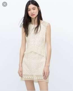 Zara Crochet Combined Lace Dress