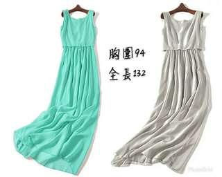 🚚 兩色雪紡無袖長洋裝長裙