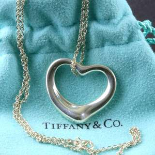 Tiffany & Co Large Open Heart Silver Necklace - Designed by Elsa Peretti