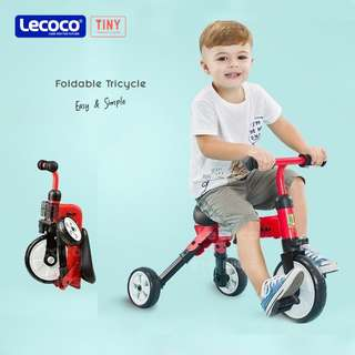 Lecoco Tiny Lightweight Foldable Tricycle Bicycle Push Bike(FREE Bike Bag)