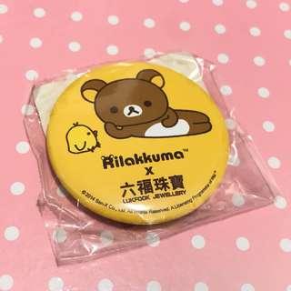 罕見 鬆弛熊 六福珠寶 襟章 Rilakkuma 輕鬆小熊