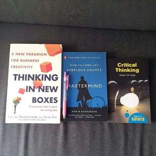 Bn Thinking In New Boxes New Paradigm For Business Creativity 5 Essential Steps To Spark Next Big Idea By Luc De Brabandere & Alan Iny How To Think Like Sherlock Holmes :  Mastermind By Maria Konnikova Critical thinking Beginner's Guide By Sharon M. Kaye