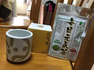 元氣綠茶粉+元氣杯一只