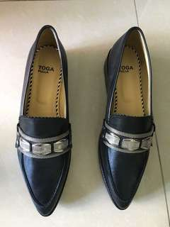Toga Pulla Black leather penny loafers, metallic detail
