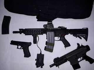 3 AIRSOFT guns (M4A1, baby armalite,glock)