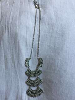 Clear Teal Crystal Necklace