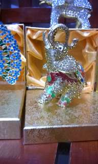 Good luck charm gold metal with crystal stone elephant authentic from Singapore