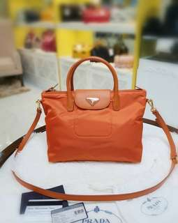Prada BN2106 Tessuto+Saffian Papaya ❤BIG SALE 29,800 ❤ In good as new condition Wiymth dustbag cards & long strap Swipe for detailed pics