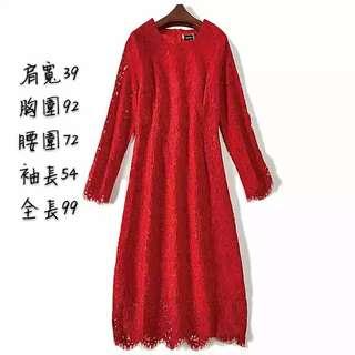 🚚 紅色蕾絲修身洋裝