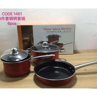 3 Pcs Kitchen Pot and Pans Set (Induction Cooker Safe)