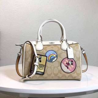Coach mini bennett satchel with mickey mouse patches - white