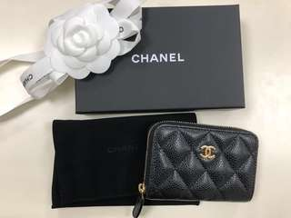 全新Chanel荔枝皮保卡25開零錢包
