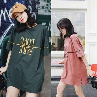 🚚 韓版休閒寬鬆短袖長版T恤短袖上衣連身裙洋裝