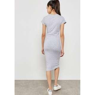 Cotton On Grey Velvet Bodycon Dress