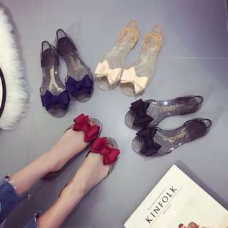 Bow flat shoes jelly transparent fish mouth shoes for women