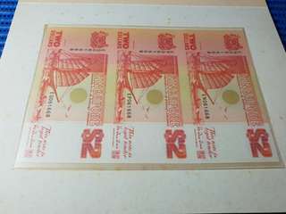 Uncut 3X Singapore Ship Series $2 Note EN 061668 / EP 061668 / EQ 061668 Nice Number Dollar Banknote Currency