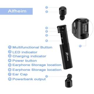 840. Alfheim True Wireless Earbuds, Dual Bluetooth Noise Cancelling Headphones Sweatproof Mini Earpieces V4.2 In-Ear Headsets with Charging Case,EASY PAIR True Wireless Stereo Earphones