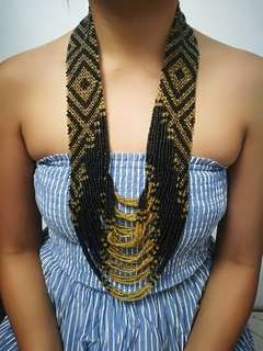 Black and Gold Layered Beaded Necklace